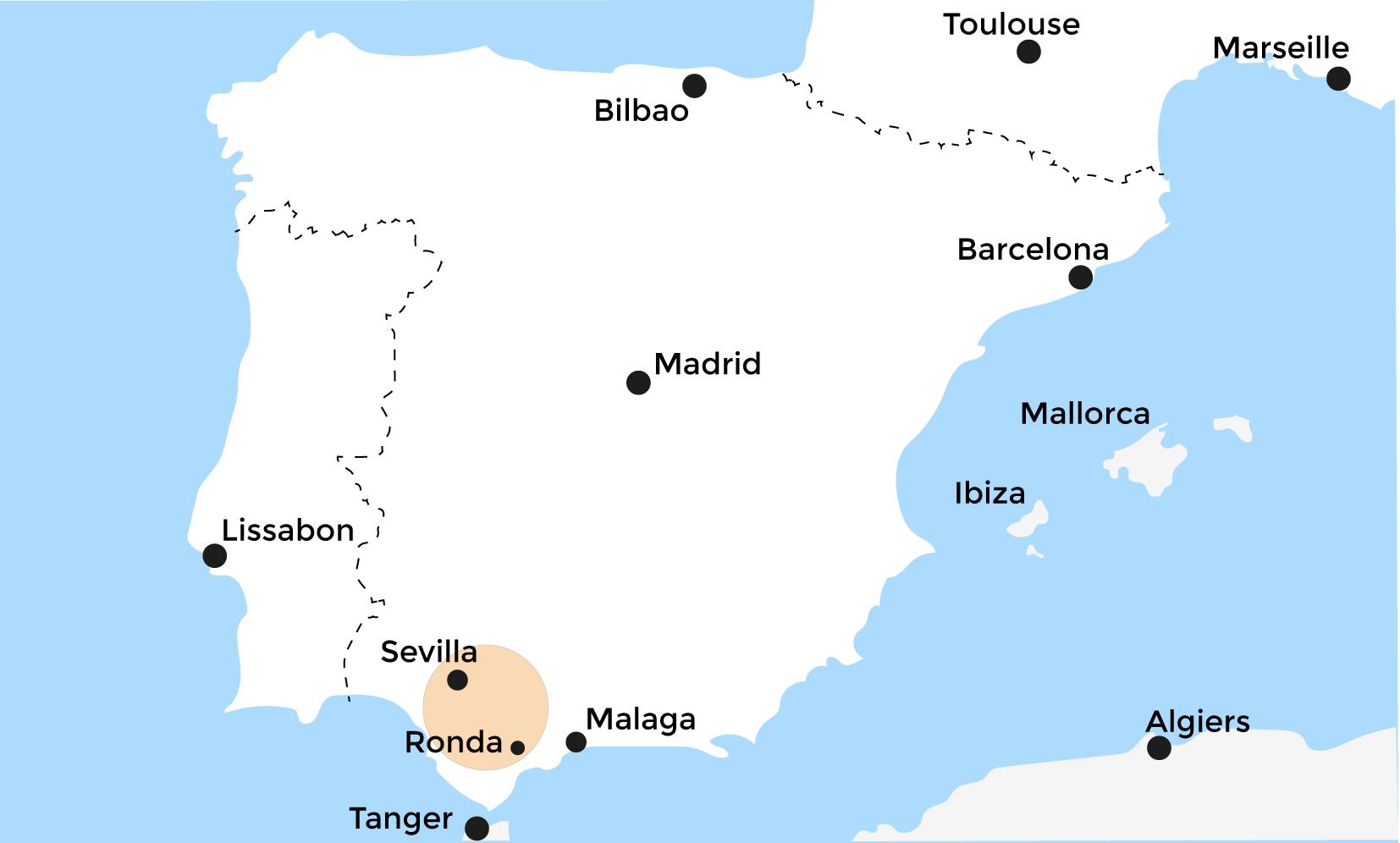 Kaart Spanje - Andalusië