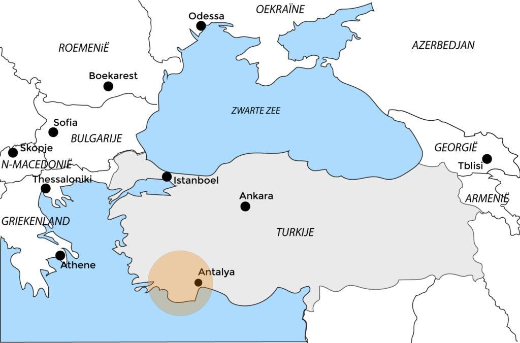 Kaart Wandelvakantie groep Turkije