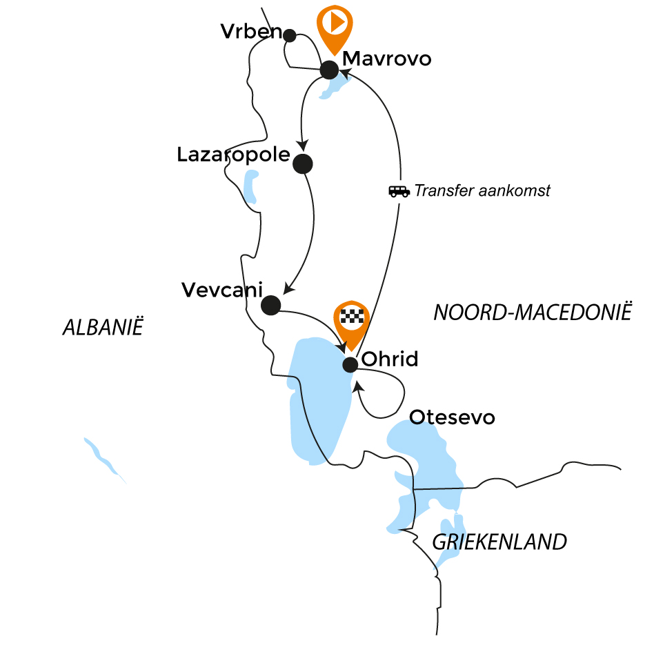 Routekaart MTB N-Macedonie