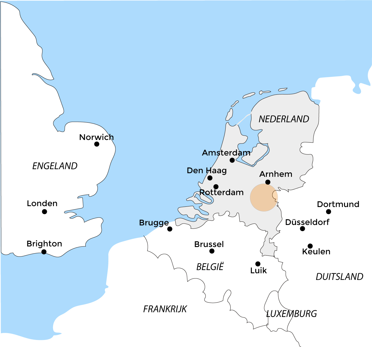 Kaart Nederland airborne route